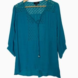 AGB brilliant blue blouse w/ tank NWT L